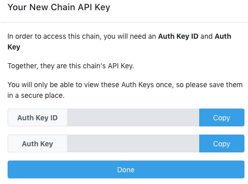 Dragonchain blockchain new chain API keys generator